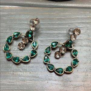Emerald Green Open Hoop Drop Earrings New
